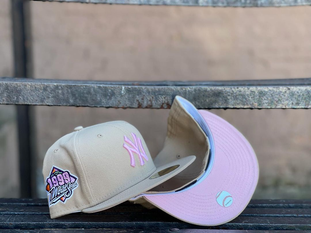 New York Yankees Cream Pink Fitted Hat