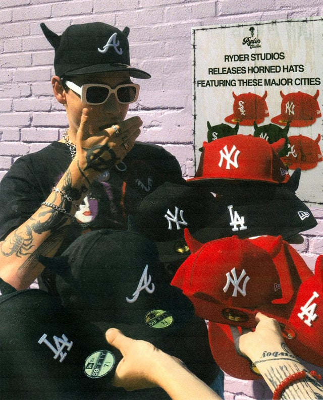 MLB fitted hats with horns