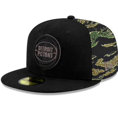 Detroit Pistons Camo Panel Fitted Hat