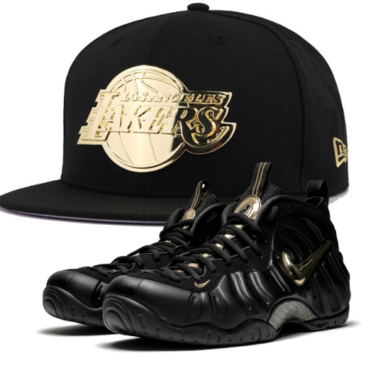 New Era Los Angeles Lakers Black Gold Metal Badge 59fifty Fitted
