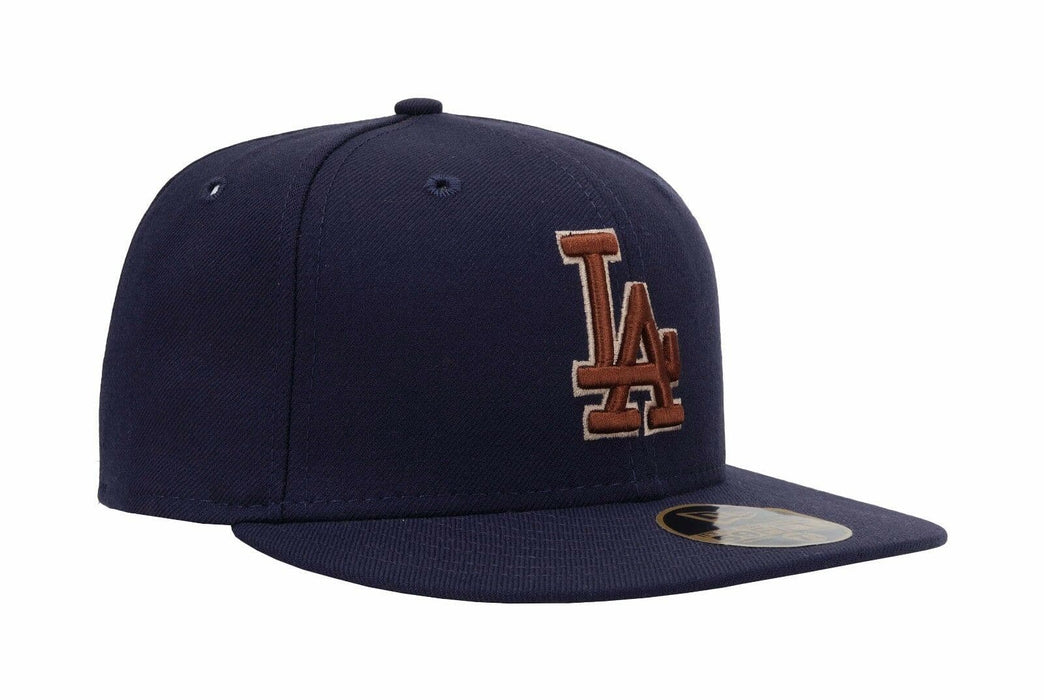 Navy Blue Brown LA Dodgers Fitted Hat