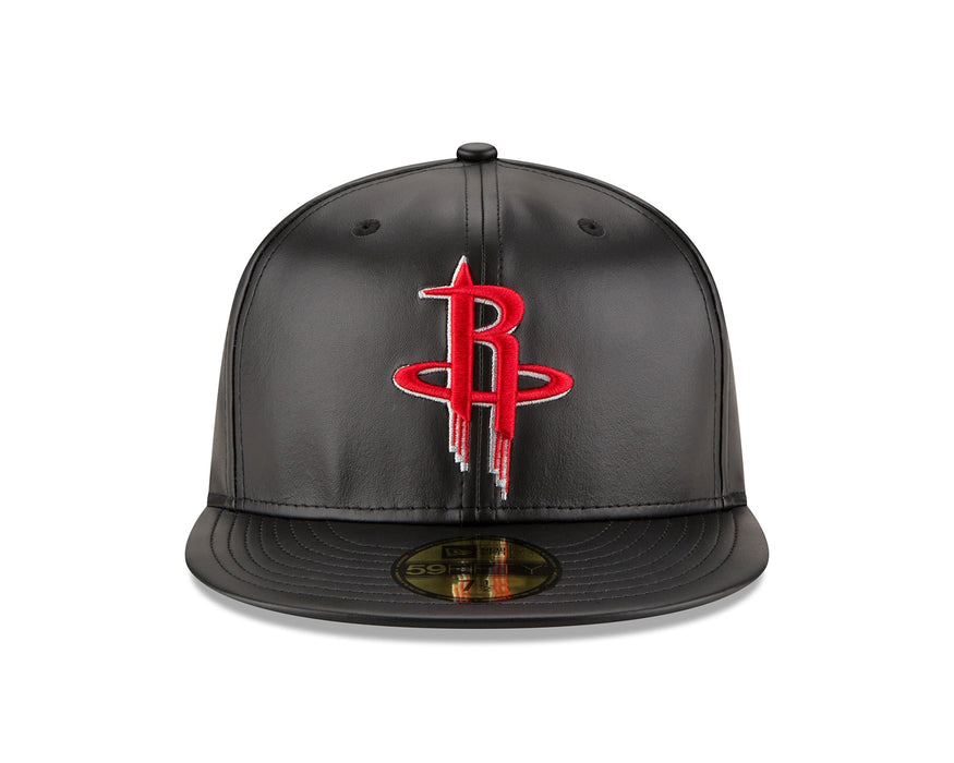 New Era Houston Rockets Leather 59FIFTY Fitted Hat