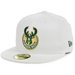 Milwaukee Bucks White Fitted Hat