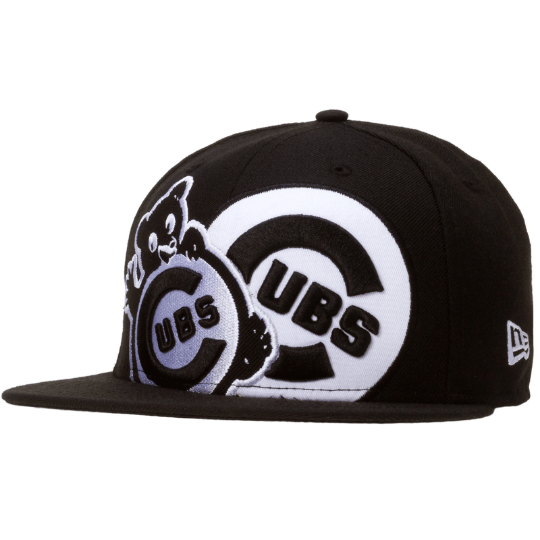 New Era Chicago Cubs Black and White Dual Logo 59Fifty Fitted Hat