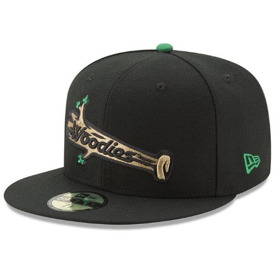New Era Black Down East Wood Ducks AC 59Fifty Fitted Hat