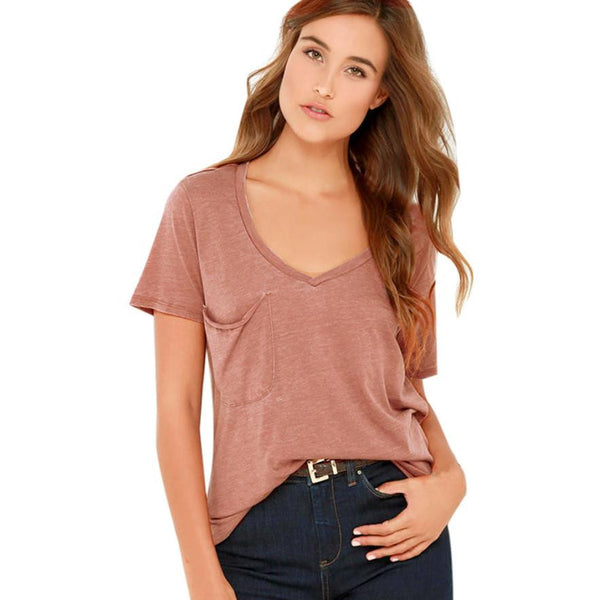 Fashion Pink Shirt 2017 Summer T-Shirt Women V-Neck Short Sleeve Solid Casual Tops T-Shirt Pockets Tops #LSN