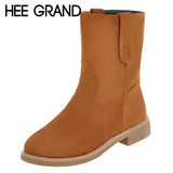 HEE GRAND Women Winter Boots with Flock Vamp High Ankle Boots Woman's Keeping Warm Footwear British Style Shoes XWX6312