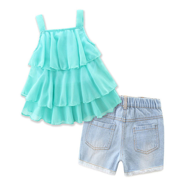 Toddler Kids Baby Girl Sleeveless Strap Ruffle T Shirt Tops + Shorts Pants 2pcs Kids Outfit Clothing Set Abbigliamento Bambini