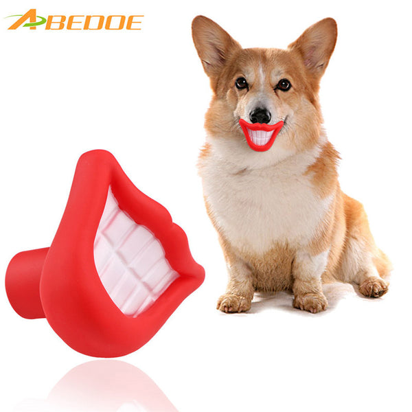 ABEDOE Small Squeaky Sound Vinyl Pet Toy Flame Blazing Red Lip Shape Fun Chew for Training Chew Sound Activity Toy Puppy Dog Pet