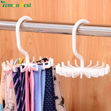 Plastic Portable Adjustable 360 Degree Rotating Tie Rack Hanger Belts Scarves Hanger Hook Holder For Closets Clothing Organizer