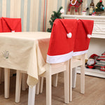 2 pcs Santa Claus Hat Christmas Chair Covers, Santa Claus Party Gift Dinner Dinning Christmas Table Decorations