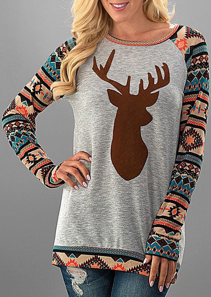 Women Christmas Elk Long Sleeve Geometric Printed Splicing T-Shirt