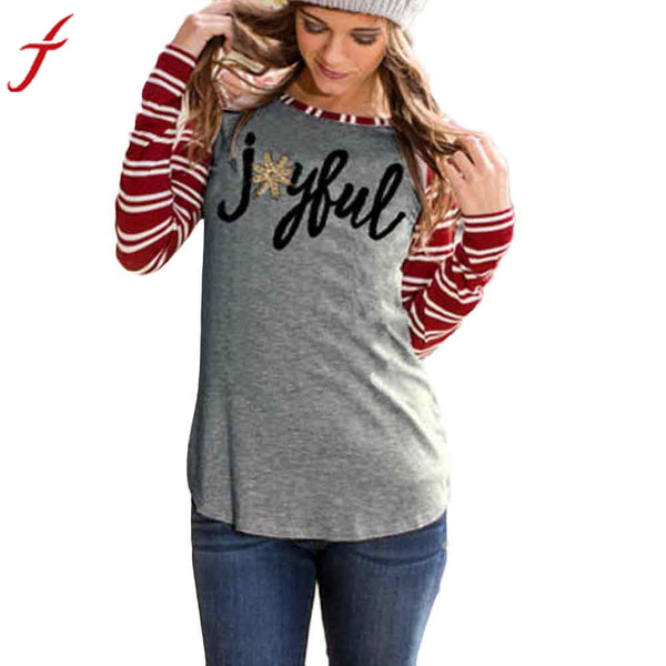 Women T-Shirt Cotton blend Long Sleeve Striped Joyful Long Sleeve Baseball Stripe Fashion Shirts Women