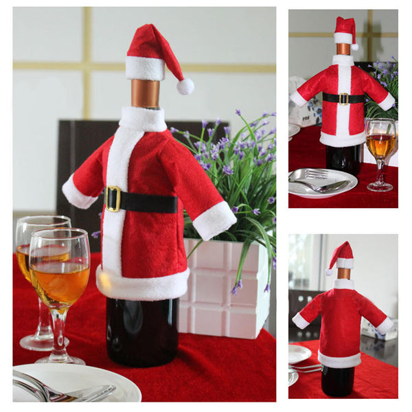 Christmas Santa Suit Hat Wine Bottle Wrap Cover Topper Pouch Bag Decoration