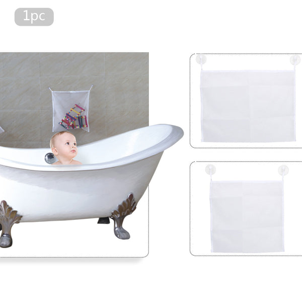 Bathroom Hanging Mesh Bath Toy Storage Bag Net Suction Cup Baskets Shower Toy Organiser Folding Bags Toys Tidy Bag