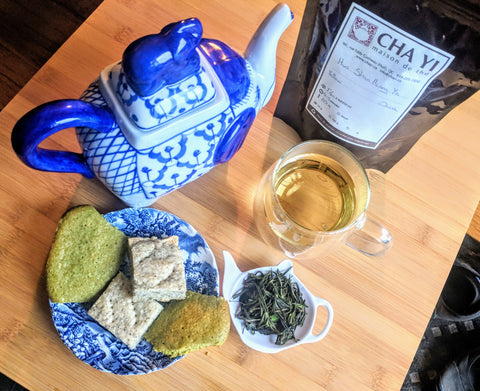 black tea short bread with matcha cookies and yellow tea