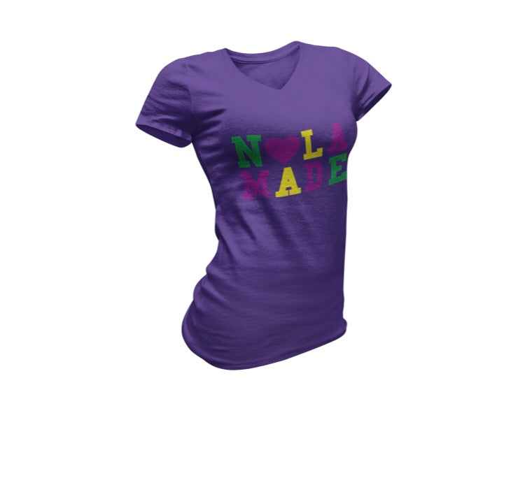 Load image into Gallery viewer, Mardi Gras Nola Made WOMEN'S VNECK Tee
