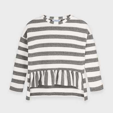 Striped Ruffle Sweatshirt