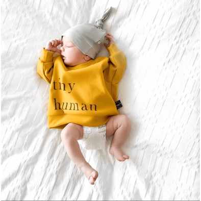 Tiny Human Fleece Sweater - Pumpkin Spice
