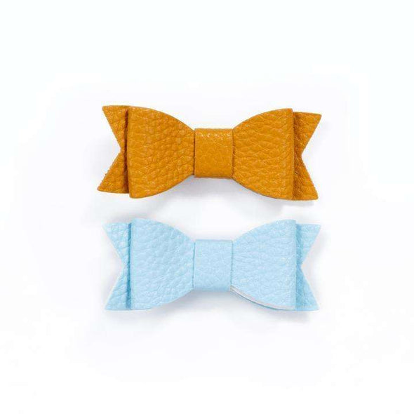 Duo Small Hair Curls - Pastel Blue and Mustard Yellow