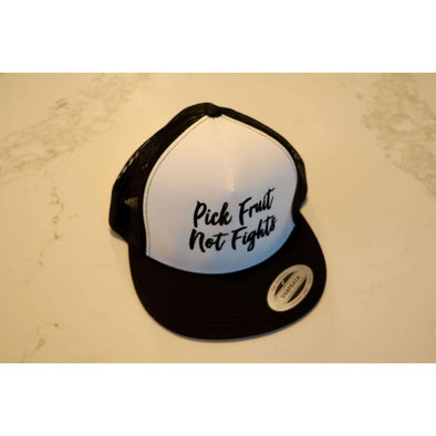Adult Pick Fruit Not Fights Hat - Black Snap Back