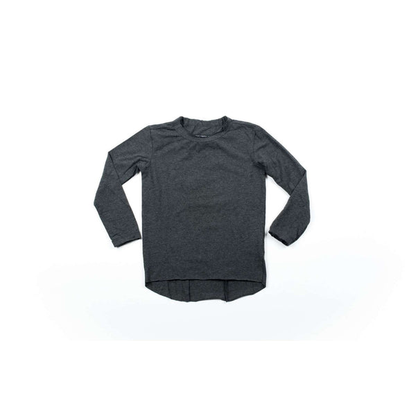 Charcoal Raw Edge Elongated Long Sleeve Shirt