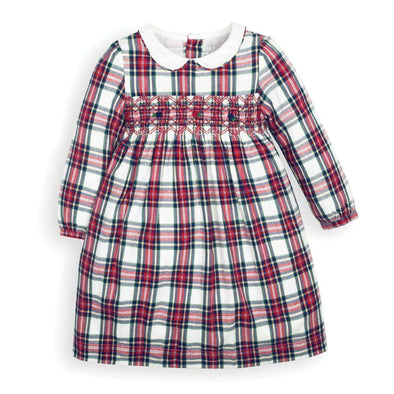 Girls' Cream Smocked Tartan Party Dress