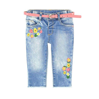 Floral Embroidered Jeans with Belt