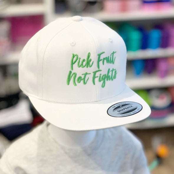 Pick Fruit Not Fights Hat - White