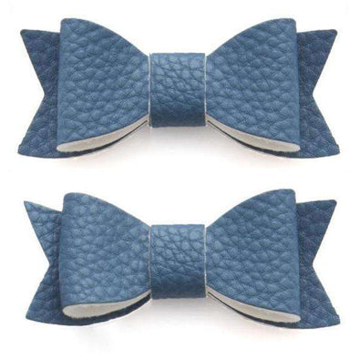 Leather Bow Tie Clips (2 pack) - Denim