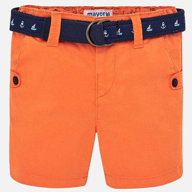 Orange Sporty Shorts with Belt