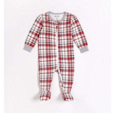 Red Plaid Sleeper with Organic Cotton - Size 9M