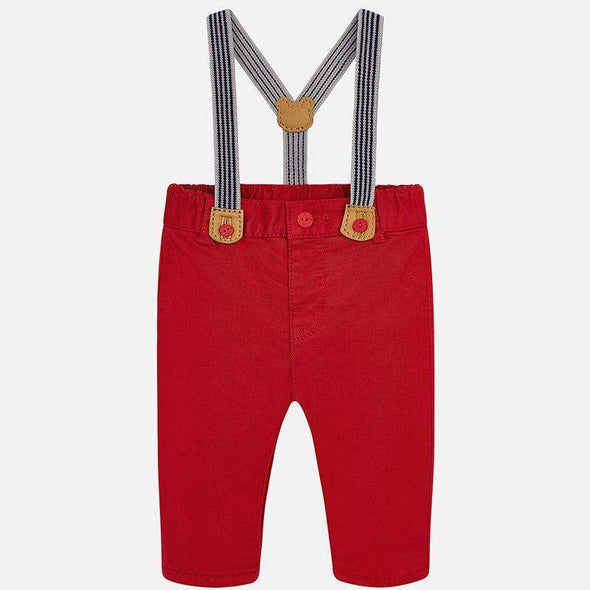 Red Trousers with Suspenders