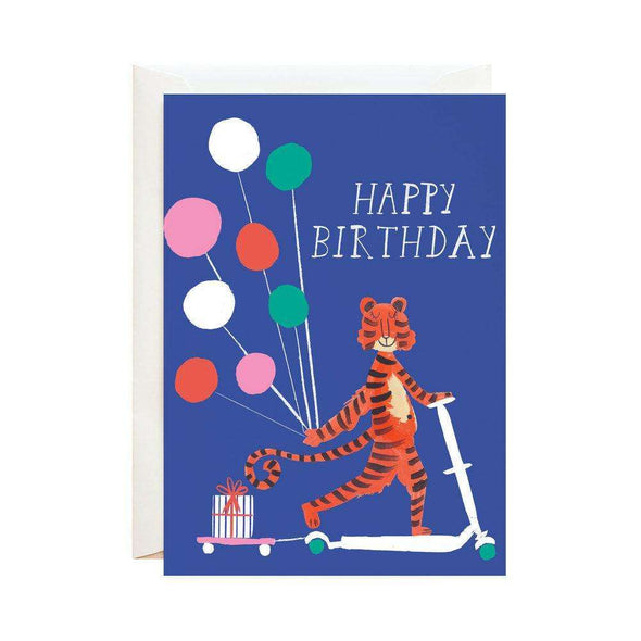 Tiger Riding a Scooter Birthday Card