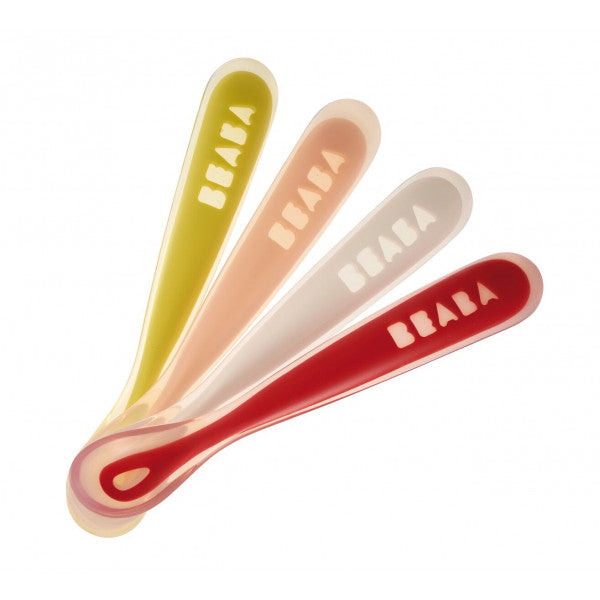 Beaba 1st Stage Silicone Spoon - Set of 4 - Neon