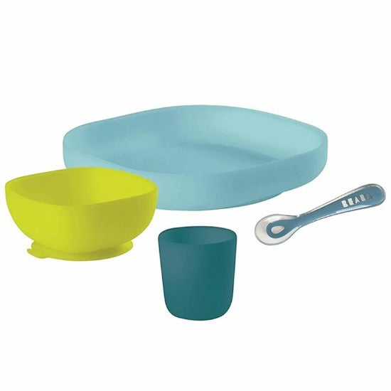 Beaba 4-Piece Silicone Suction Meal Set in Peacock
