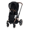 CYBEX Priam Stroller with Rose Gold Frame and Premium Black Seat