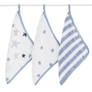 Aden+Anais 3-Pack Muslin Washcloths in Rock Star