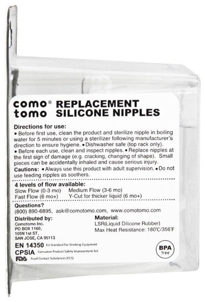 Comotomo Natural Teat Silicone Nipples - Slow Flow