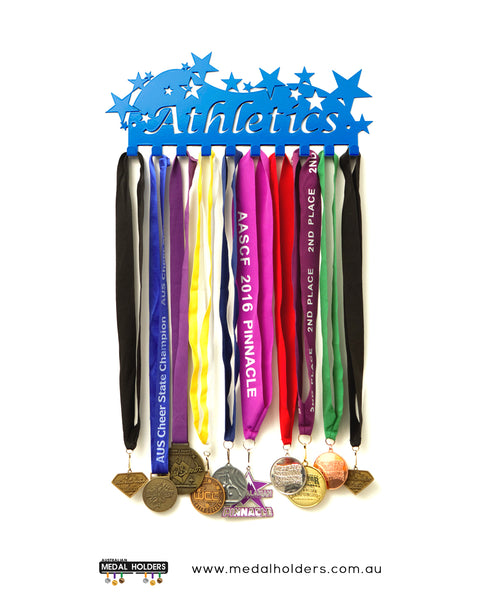 Athletics and Sports Medal Hangers - Australian Medal Holder - Australia made athletic medal display available in Blue, White, Black and Purple.