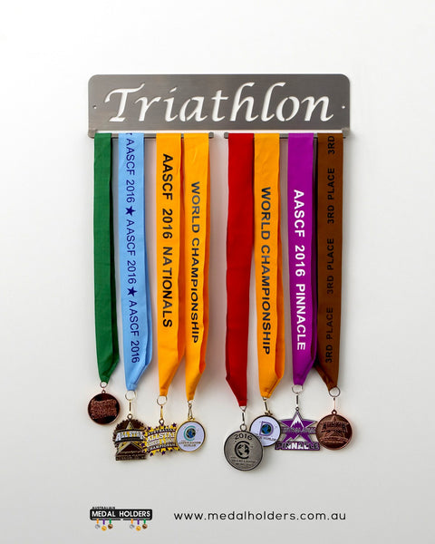 Triathlon Medal Hanger - Premium Quality stainless steel medal display - sports medal displays by Australian Medal Holders