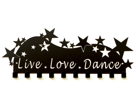 Live Love Dance Medal Holder - Black Powder Coated medal hanger - Premium quality sports medal displays by Australian Medal Holders