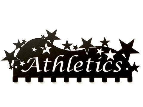 Athletics Medal Display Solution - Neatly displays all your athletics winning medals with our quality black star design Athletics Medal Holder, also available in other colours. Made in Australia by Australian Medal Holders.