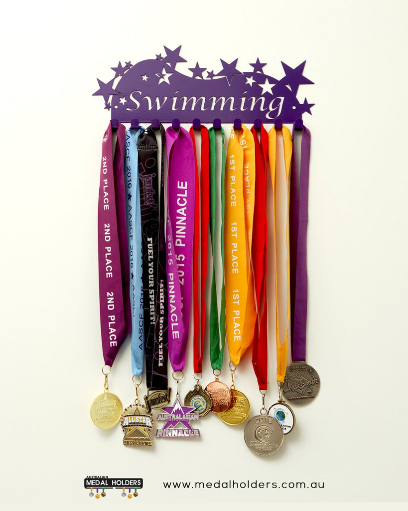 Swimming Medal Holder - Purple Star Swimming medal displays by Australian Medal Holders - Australian Hangers - Premium quality sports medal displays