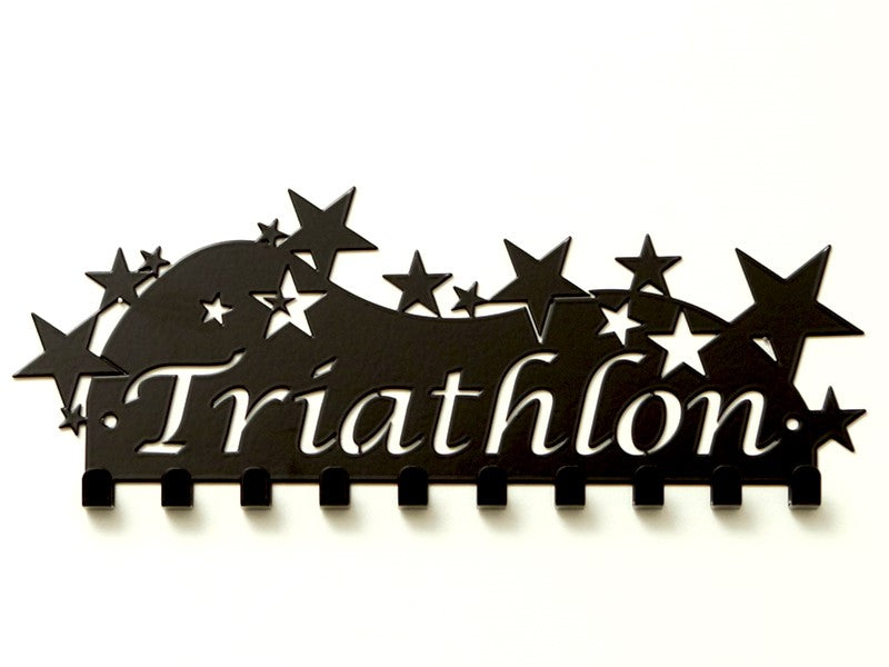 Triathlon Medal Holder - Black Powder Coated - Premium quality sports medal displays by Australian Medal Holders