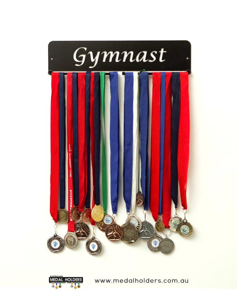 Gymnast Medal Holder - Black rectangle hangers - Premium quality sports medal displays by Australian Medal Holders