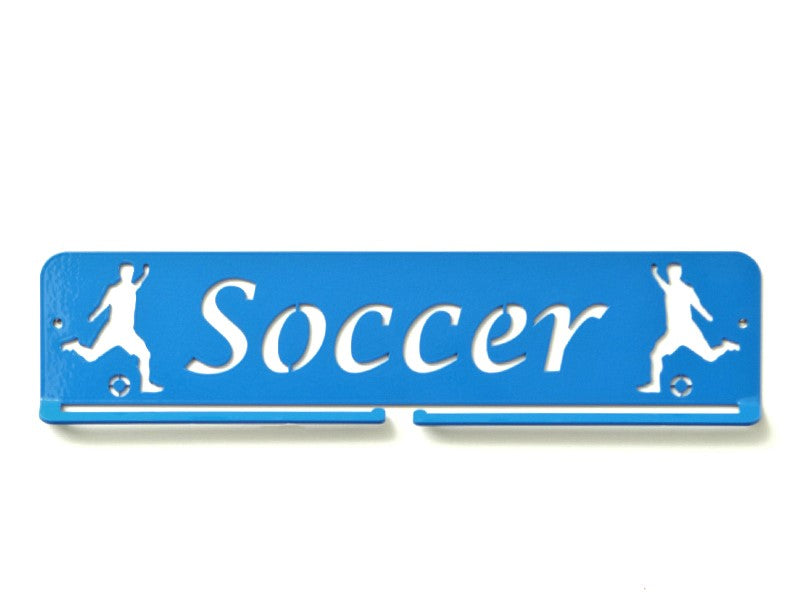 Soccer Medal Holder - Blue rectangle medal displays by Australian Medal Holders - Australian Hangers