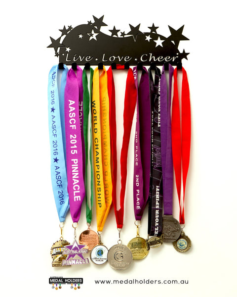 Live Love Cheer Medal Holder - Powder Coated medal hanger - Premium quality sports medal displays by Australian Medal Holders