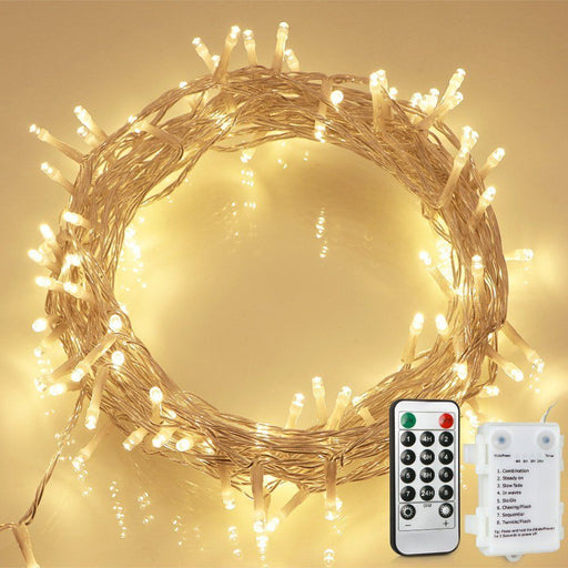 36ft 100 LED Outdoor Battery Fairy Lights with Remote and Timer