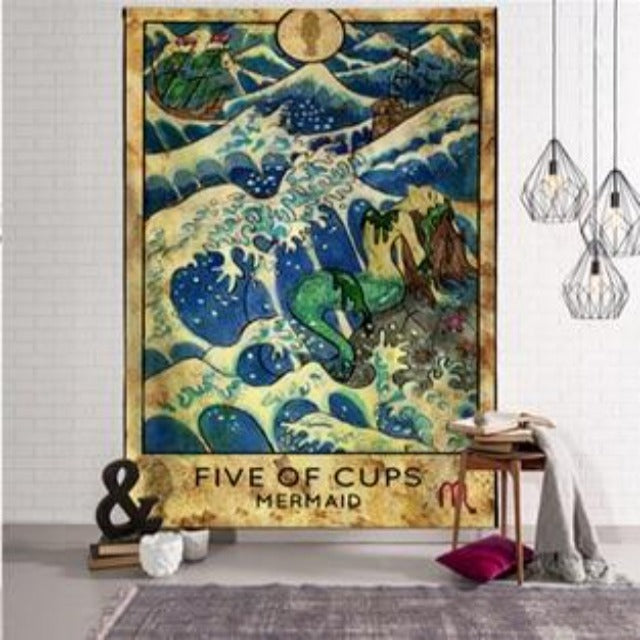 Five of Cups Mermaid Tapestry